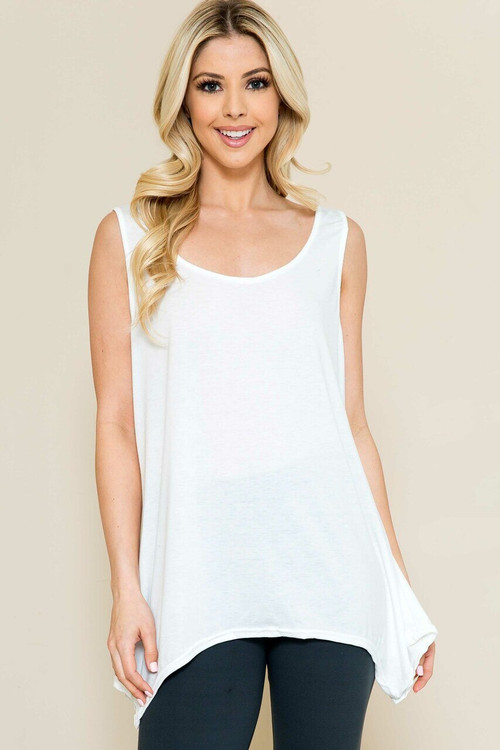 Wholesale - Basic Solid Round Neck Relaxed Fit Tank Top
