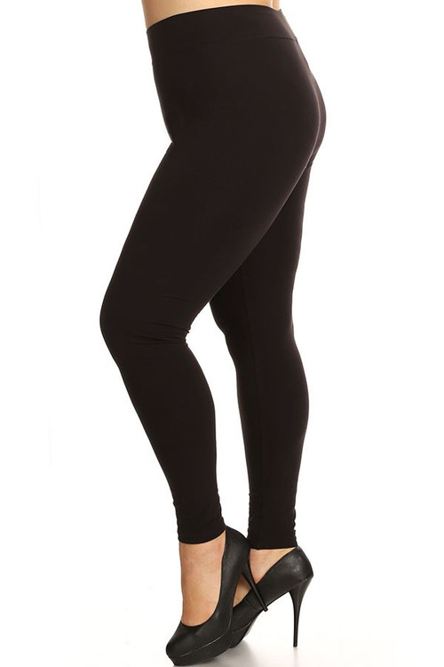 Left Side Image of Wholesale - High Waaisted Cotton Fitness Leggings - Plus Size