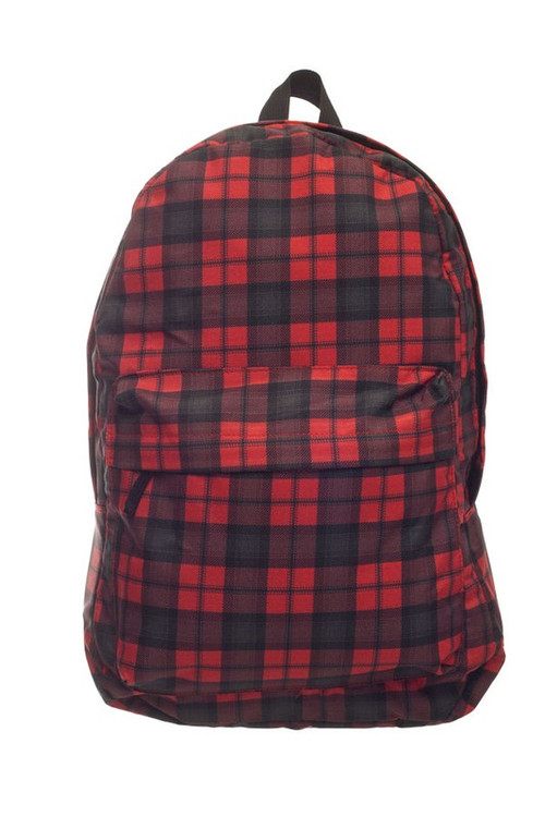 Wholesale - Black and Red Plaid Graphic Print Backpack