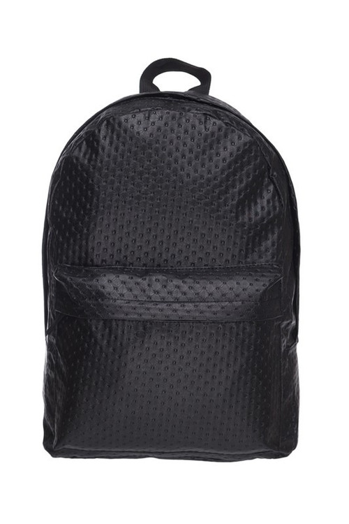 Wholesale - Black Perforated Faux Leather Backpack