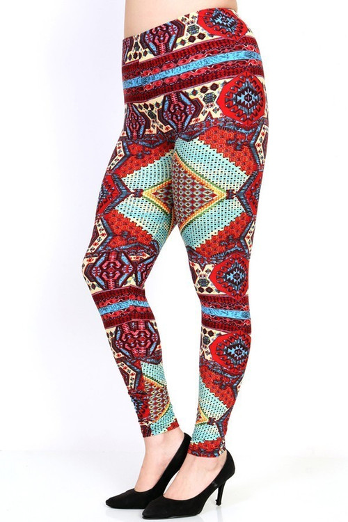 Wholesale - Buttery Soft Red Tribal Patch Leggings - Plus Size
