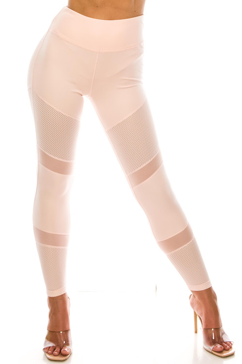 Wholesale - Baby Pink Perforated Mesh High Waisted Sport Leggings