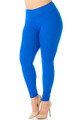 Blue Wholesale - Buttery Soft High Waisted Plus Size Basic Solid Leggings - 3 Inch Band
