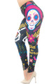Wholesale - Creamy Soft Day of the Dead Extra Plus Size Leggings - 3X-5X - USA Fashion™