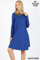 Wholesale - Premium Long Sleeve A-Line Round Hem Rayon Tunic with Pockets