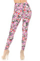 Wholesale - Buttery Soft Pink Blossom Skulls Extra Plus Size Leggings - 3X-5X