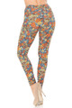 Wholesale - Buttery Soft Charcoal Rose and Skulls Leggings - Plus Size