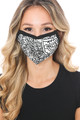 Wholesale - Black and White Floral Graphic Print Face Mask