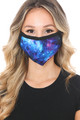 Wholesale - Blue Galaxy Graphic Print Face Mask