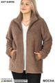 Front unzipped image of Mocha Wholesale - Sherpa Zip Up Plus Size Jacket with Side Pockets