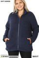 Front image of Navy Wholesale - Sherpa Zip Up Plus Size Jacket with Side Pockets