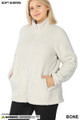 Front image of Bone Wholesale - Sherpa Zip Up Plus Size Jacket with Side Pockets