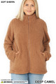Front image of Deep Camel Wholesale - Sherpa Zip Up Plus Size Jacket with Side Pockets