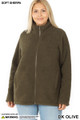 Front image of Dark Olive Wholesale - Sherpa Zip Up Plus Size Jacket with Side Pockets