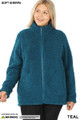Front image of Teak Wholesale - Sherpa Zip Up Plus Size Jacket with Side Pockets