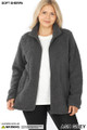 Front unzipped image of Ash Grey Wholesale - Sherpa Zip Up Plus Size Jacket with Side Pockets