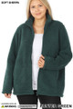 Front unzipped image of Hunter Wholesale - Sherpa Zip Up Plus Size Jacket with Side Pockets