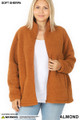 Front unzipped image of Almond Wholesale - Sherpa Zip Up Plus Size Jacket with Side Pockets
