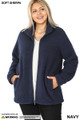 Front unzipped image of Navy Wholesale - Sherpa Zip Up Plus Size Jacket with Side Pockets