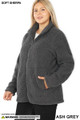 45 degree image of Ash Grey Wholesale - Sherpa Zip Up Plus Size Jacket with Side Pockets
