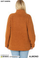 Back side image of Almond Wholesale - Sherpa Zip Up Plus Size Jacket with Side Pockets