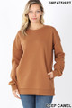 Front image of Deep Camel Wholesale - Round Crew Neck Sweatshirt with Side Pockets
