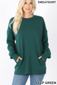 Front image of Deep Green Wholesale - Round Crew Neck Sweatshirt with Side Pockets