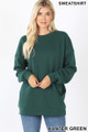 Front image of Hunter Green Wholesale - Round Crew Neck Sweatshirt with Side Pockets