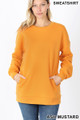 Front image of Ash Mustard Wholesale - Round Crew Neck Sweatshirt with Side Pockets