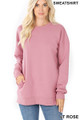 Front image of Light Rose Wholesale - Round Crew Neck Sweatshirt with Side Pockets
