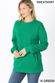 Slightly turned image of Kelly Green Wholesale - Round Crew Neck Sweatshirt with Side Pockets