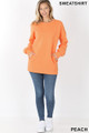 Full body image of Peach Wholesale - Round Crew Neck Sweatshirt with Side Pockets