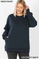 Front image of Midnight Navy Wholesale - Cotton Round Crew Neck Plus Size Sweatshirt with Side Pockets