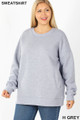 Front image of Heather Grey  Wholesale - Cotton Round Crew Neck Plus Size Sweatshirt with Side Pockets