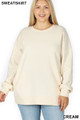 Front image of Cream Wholesale - Cotton Round Crew Neck Plus Size Sweatshirt with Side Pockets