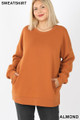 Front image of Almond Wholesale - Cotton Round Crew Neck Plus Size Sweatshirt with Side Pockets