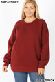 Front image of Fired Brick Wholesale - Cotton Round Crew Neck Plus Size Sweatshirt with Side Pockets
