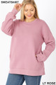 Front image of Light Rose Wholesale - Cotton Round Crew Neck Plus Size Sweatshirt with Side Pockets
