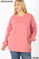 Front image of Dusty Rose Wholesale - Cotton Round Crew Neck Plus Size Sweatshirt with Side Pockets