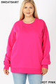 Front image of Hot Pink Wholesale - Cotton Round Crew Neck Plus Size Sweatshirt with Side Pockets