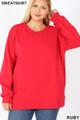 Front image of Ruby Wholesale - Cotton Round Crew Neck Plus Size Sweatshirt with Side Pockets