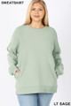 Front image of Light Green Wholesale - Cotton Round Crew Neck Plus Size Sweatshirt with Side Pockets
