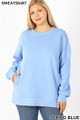 Front image of Spring Blue Wholesale - Cotton Round Crew Neck Plus Size Sweatshirt with Side Pockets