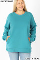 Front image of Dusty Teal Wholesale - Cotton Round Crew Neck Plus Size Sweatshirt with Side Pockets