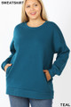 Front image of Teal Wholesale - Cotton Round Crew Neck Plus Size Sweatshirt with Side Pockets