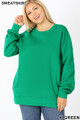 Front image of Kelly Green Wholesale - Cotton Round Crew Neck Plus Size Sweatshirt with Side Pockets