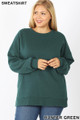 Front image of Hunter Green Wholesale - Cotton Round Crew Neck Plus Size Sweatshirt with Side Pockets