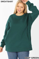 Front image of Deep Green Wholesale - Cotton Round Crew Neck Plus Size Sweatshirt with Side Pockets
