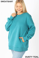 45 degree image of  Dusty Teal Wholesale - Cotton Round Crew Neck Plus Size Sweatshirt with Side Pockets