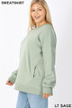 Left side image of Light Green Wholesale - Cotton Round Crew Neck Plus Size Sweatshirt with Side Pockets
